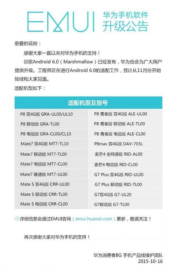 обновление marshmallow для Huawei