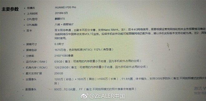 huawei p20 pro характеристики утечка